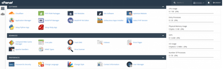 This image has an empty alt attribute; its file name is cpanel_dashboard.png